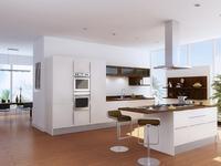 Kuchnia z wyspą. Aranżacja białych mebli kuchennych ze sprzętem AGD