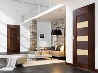 Ciemne drzwi drewniane POL-SKONE w nowoczesnym wnętrzu