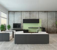 Ściany w salonie - styl minimalistyczny