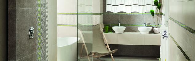 Jasne płytki ceramiczne z orzeźwiającym akcentem kolorystycznym do aranżacji nowoczesnej łazienki