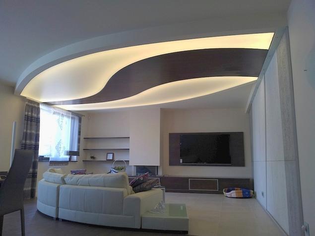 Zobacz galeri zdj sufit napinany w aran acji for Sufit podwieszany w salonie
